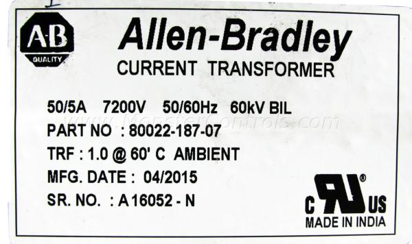 80022-187-07   Allen Bradley Current Transformer  Monster Controls